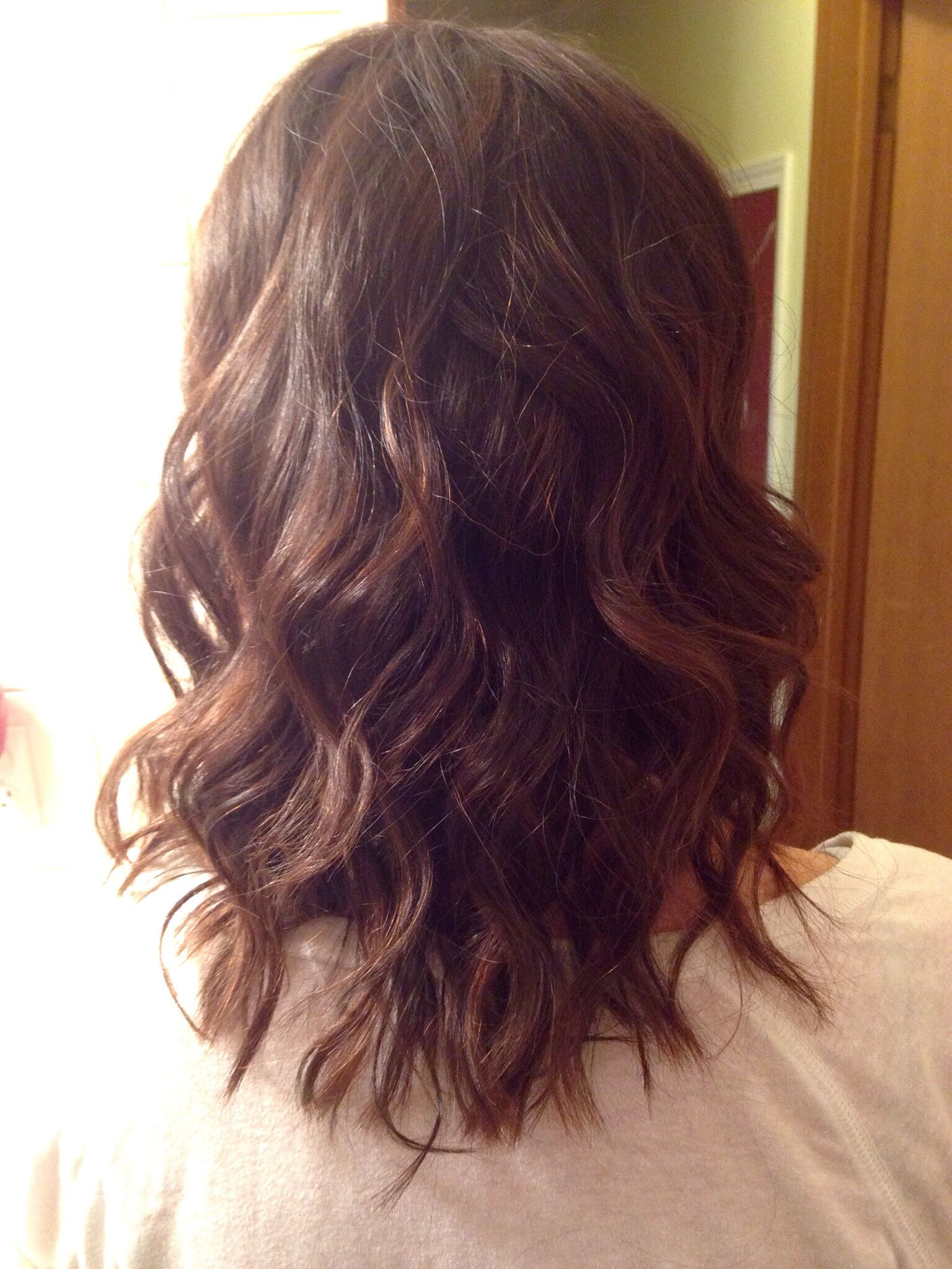 Amaretto highlights brunette medium length hairstyle easy to