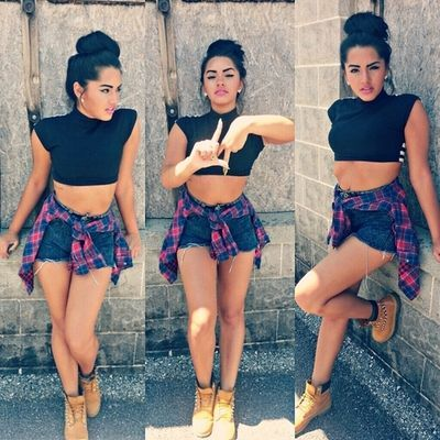 crop top...flannel....high waisted shorts high bun | Dope outfits ...