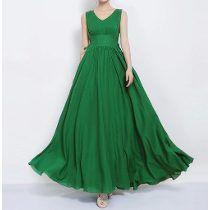 Vestido Longo Cor Verde Em Chiffon - Manequins 38/42