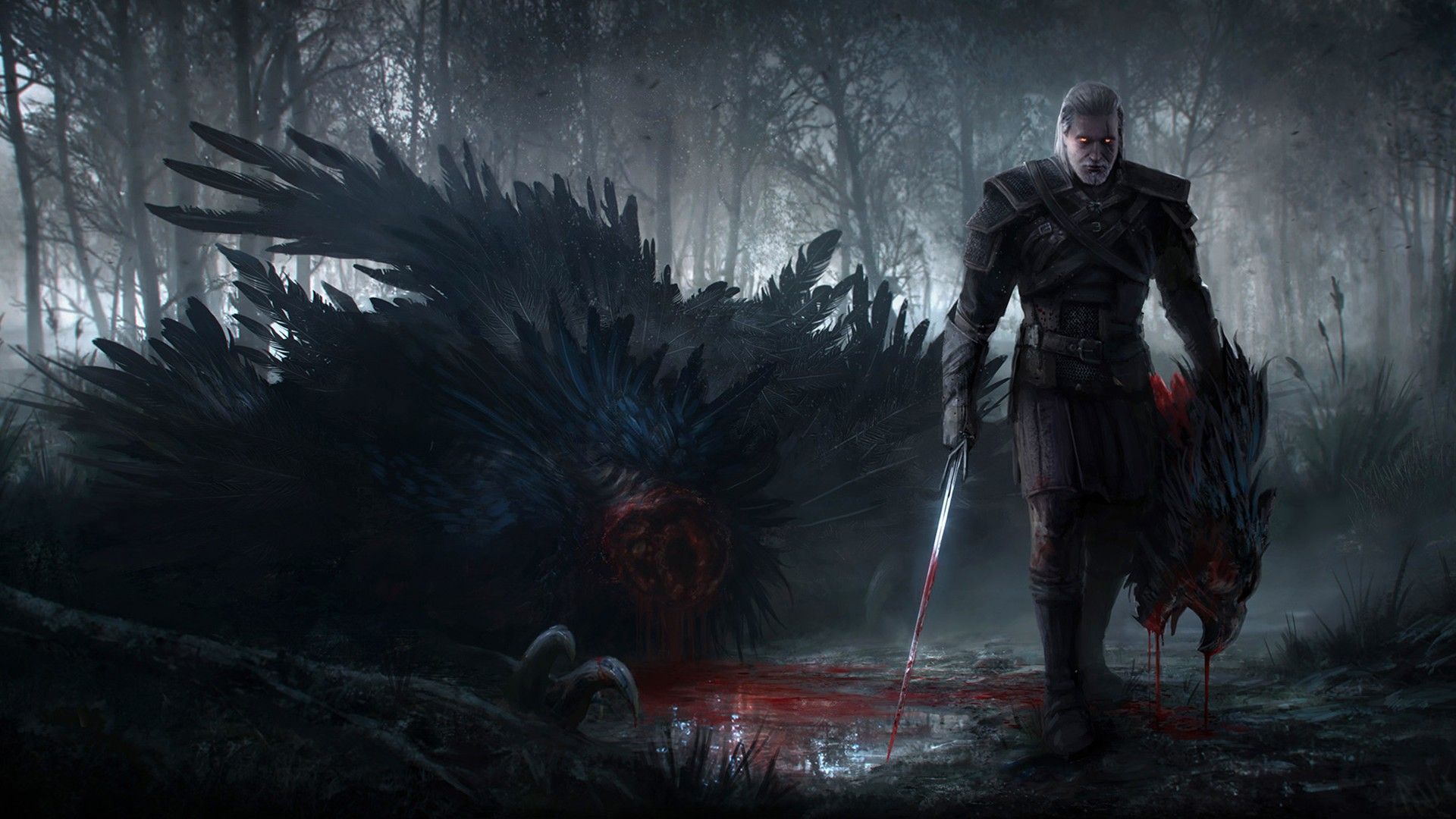 Wallpaper the witcher 3 wild hunt geralt sword blood
