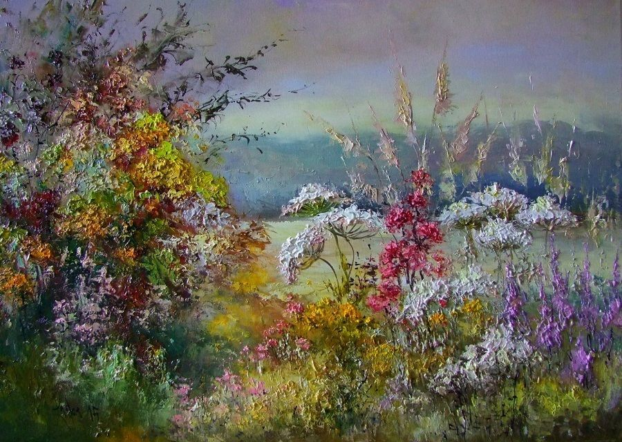 Autumn meadow mpasto original oil painting wild flowers for How to paint flowers with oil paint