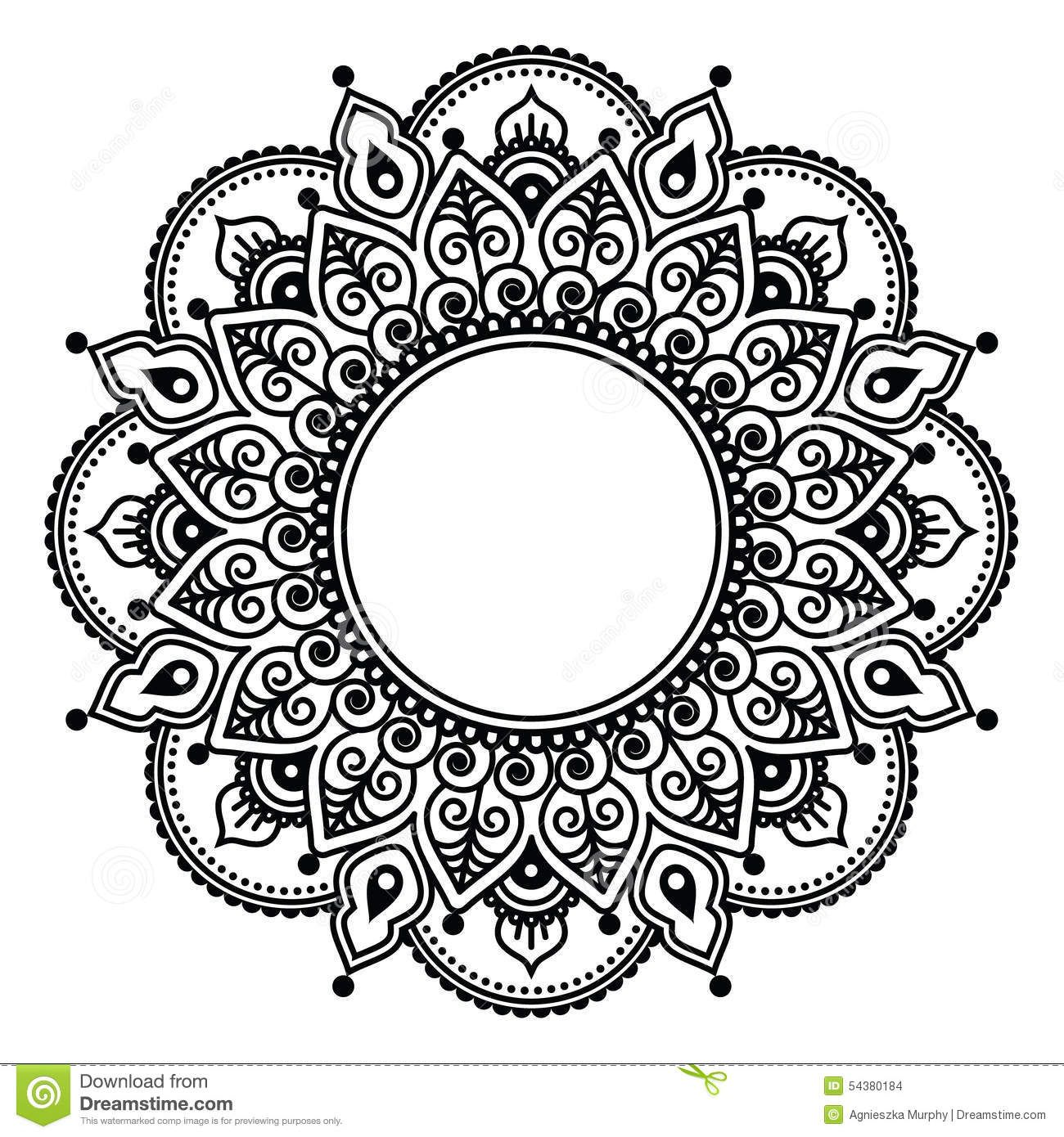 Mehndi, Indian Henna Floral Tattoo Round Pattern Stock
