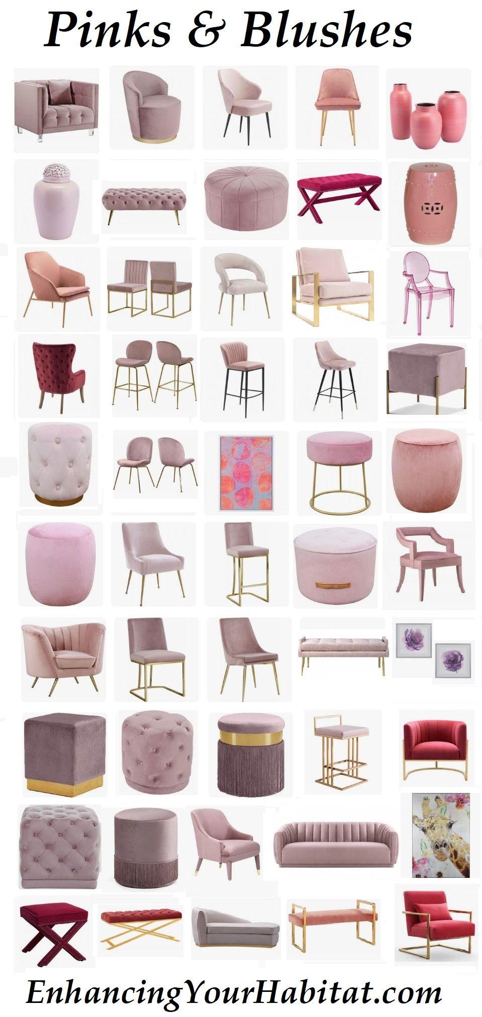 Pink Velvet Pink Blush Mauve Hot Pink Fuschia Furniture Home Accessories Home Decor Pink Velvet Sofa Pink Vel Pink Furniture Pink Bar Stools Home Room Design