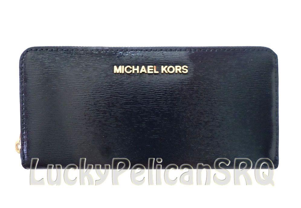74cd92c80ffe Michael Kors Jet Set Travel Zip Around Patent Navy Blue Wallet Clutch NWT   MichaelKors