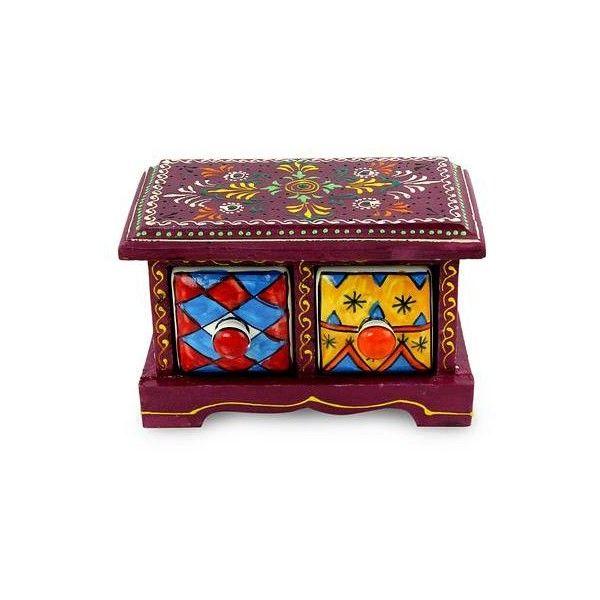 Decorative Boxes Novica Handmade Indian Burgundy Wood Box With Ceramic Drawers $40