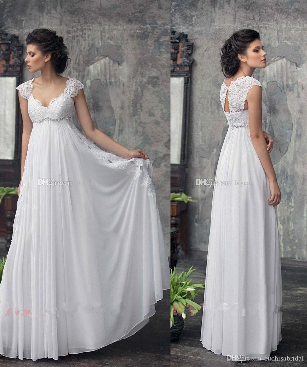 Lace Cap Sleeves Empire Waist Maternity Wedding Dress With Flowy Skirt Floor Length Coun Empire Waist Wedding Dress Pregnant Wedding Dress Beach Bridal Dresses