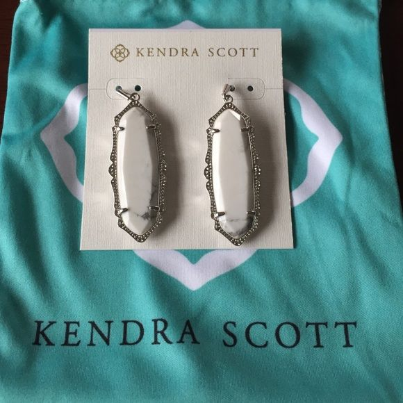 Kendra Scott Francie Earrings Kendra Scott Francie earrings. White howlite/silver tone color combination. This particular pair have mostly white and little veining through. There are variations in the pattern due to the color of this item. It's actually a nice difference being mostly white IMO. Comes with dust pouch. Kendra Scott Jewelry Earrings