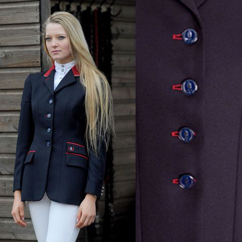 Equiport -- Ladies' Plain Navy Button Hole Equestrian Show Jacket. Red fabric collar piped in silver, three trimmed pockets and red button hole detailing.