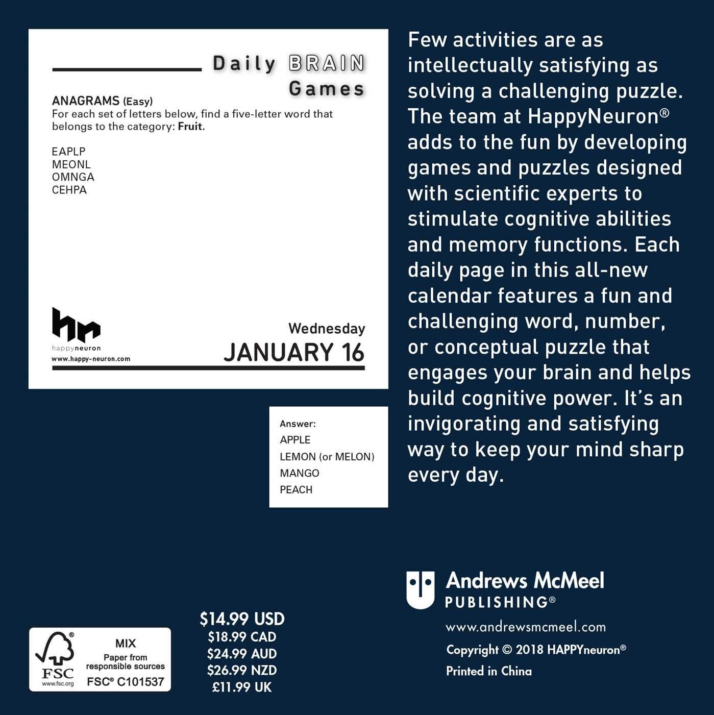 Daily Brain Games 2019 Day-to-Day Calendar Calendar – Day to