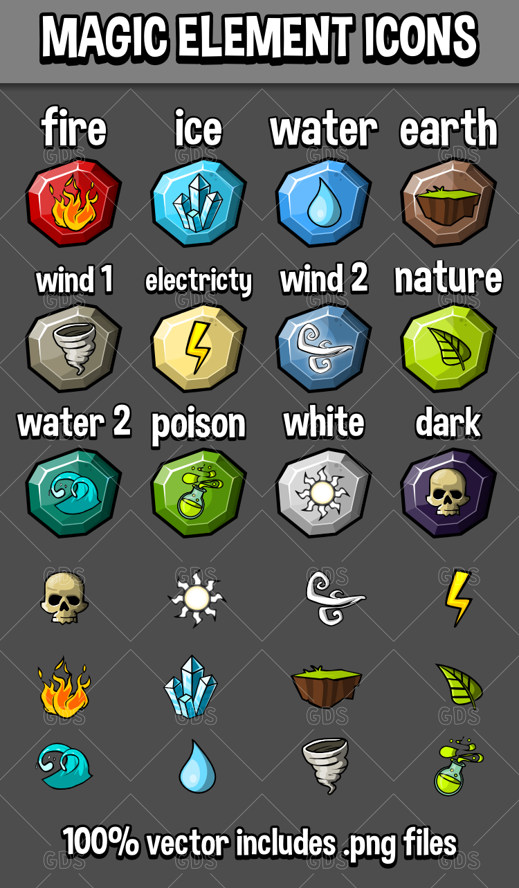 Magic Element Icons Game Assets Game Icon Icon Game Assets