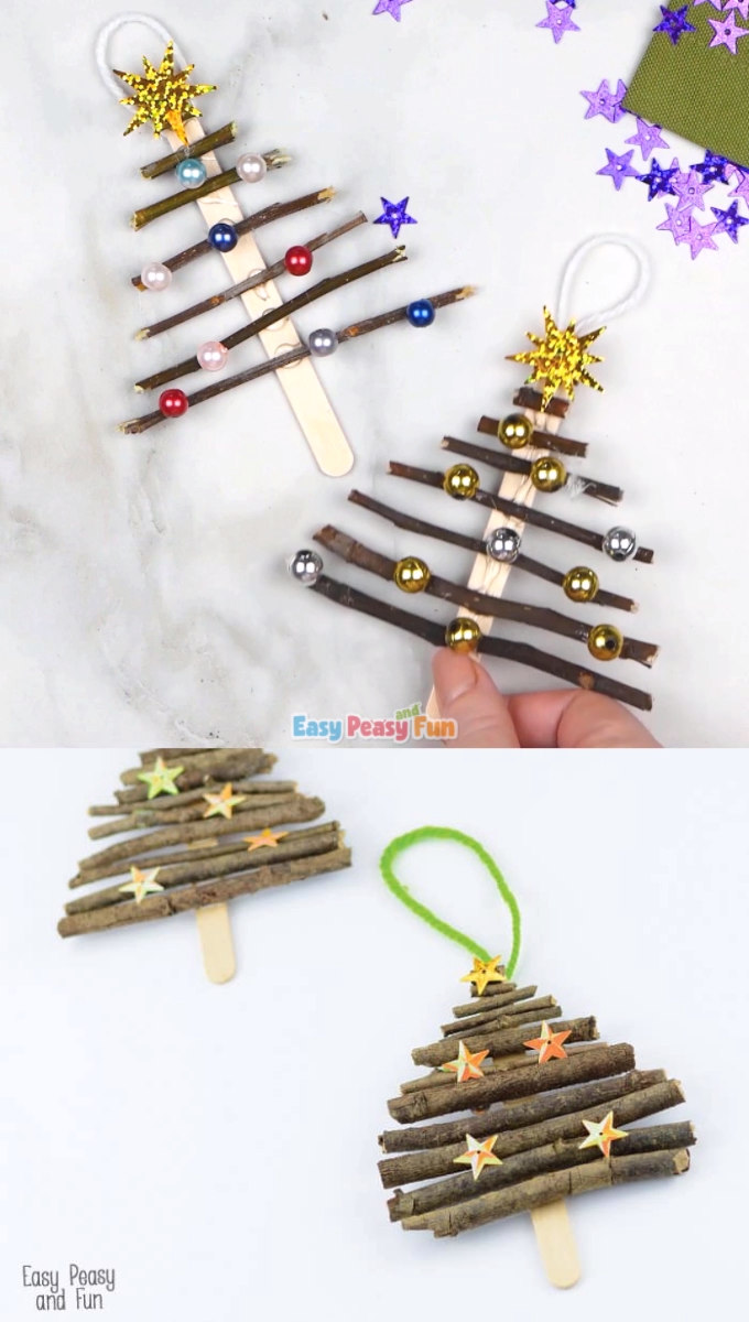 Photo of Popsicle Stick and Twigs Christmas Tree Ornaments