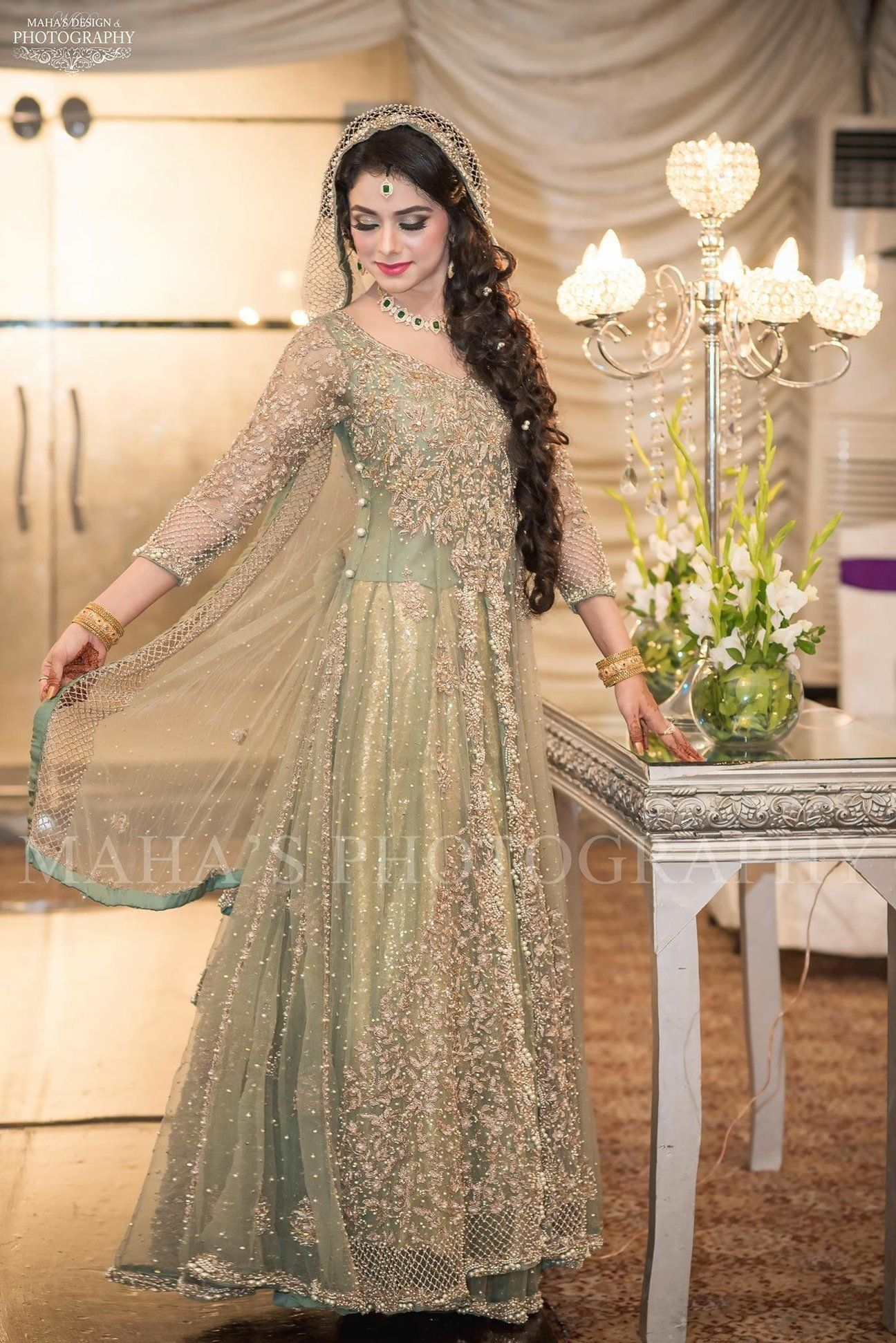 Beutifull Bridal Maxi In Mint Green Color With Dull Gold And Silver Color Model W 1193 Indian Wedding Dress Modern Pakistani Bridal Dresses Bridal Maxi Dress,White Lace Wedding Dress Sparkle
