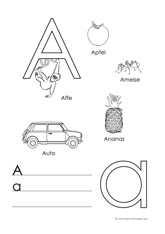 Abc Lernblatter Buchstaben Lernen Mit Bildern Und Anfangsbuchstaben Wortern Unterrichtsmaterial Im Fach Deutsch Buchstaben Lernen Kindergarten Buchstaben Buchstabe A