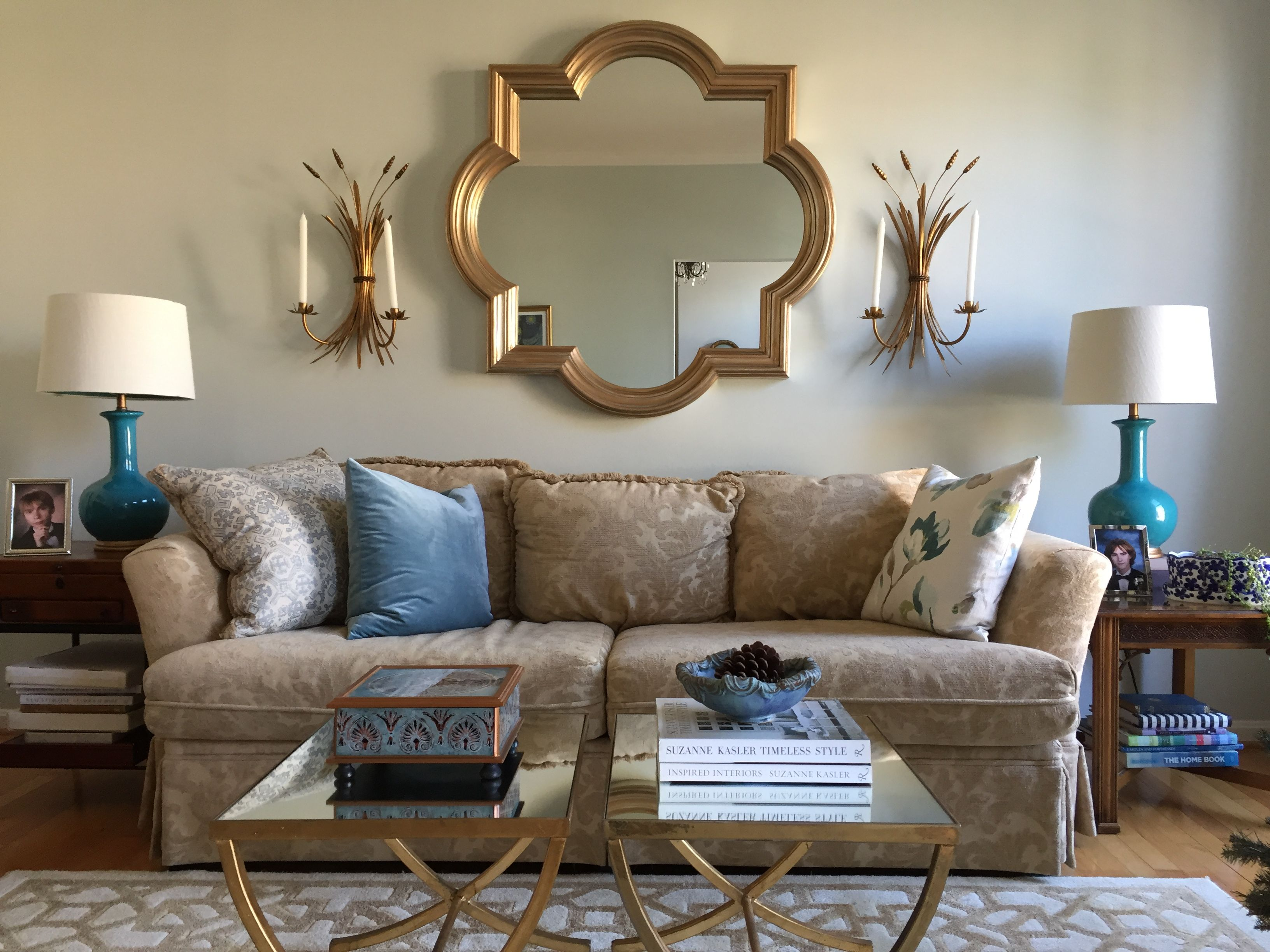 Living Room With Benjamin Moore Cashmere Gray Walls Blue And Gold Color Scheme Brown And Blue Living Room Furniture Color Schemes Living Room Color Schemes #paint #color #combination #for #living #room