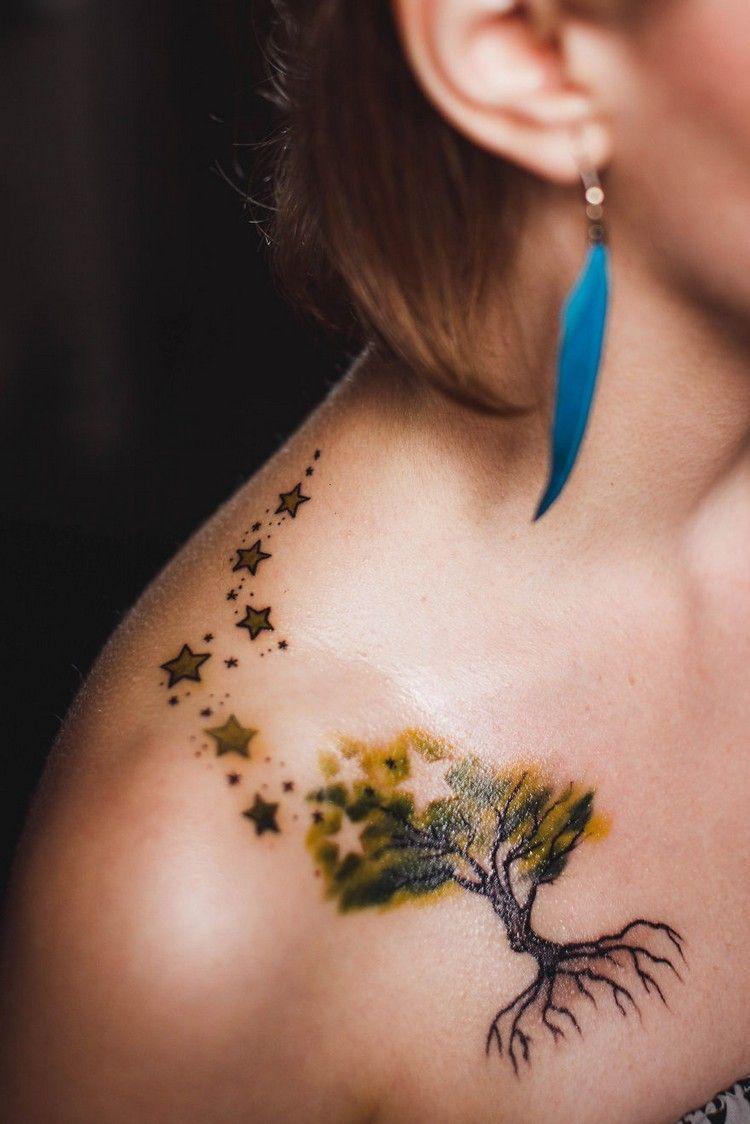 Tree And Star Tattoo Google Search Tattoo Designs For Girls Unique Tattoos Unique Tattoos For Women