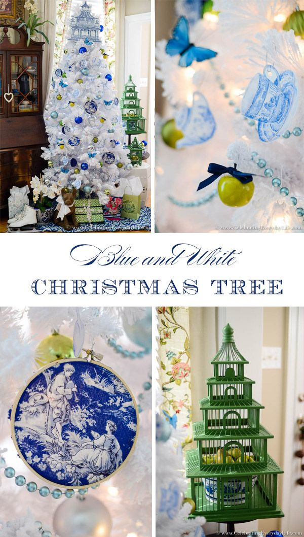 Blue & White Christmas Tree | Homemade christmas decorations ...