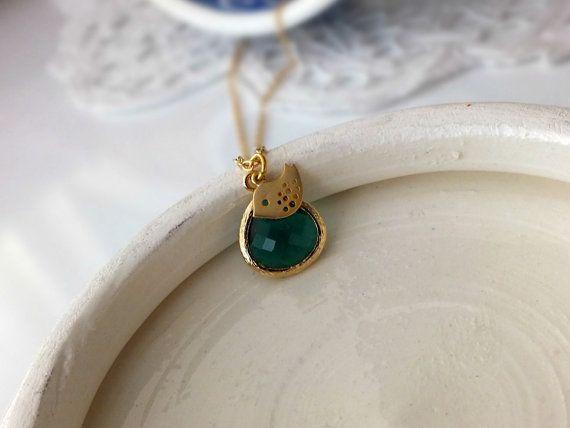 Emerald Green Pendant and GoldBird on a Gold by BeadingTimes, $22.00