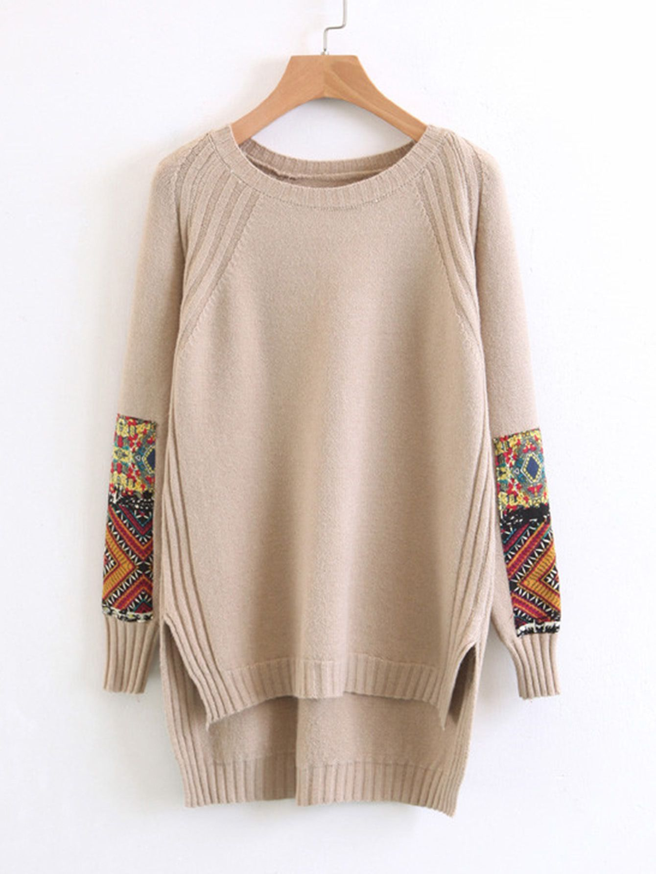 eb60c386f0bf78 Shop Contrast Patch High Low Sweater online. SheIn offers Contrast Patch  High Low Sweater   more to fit your fashionable needs.