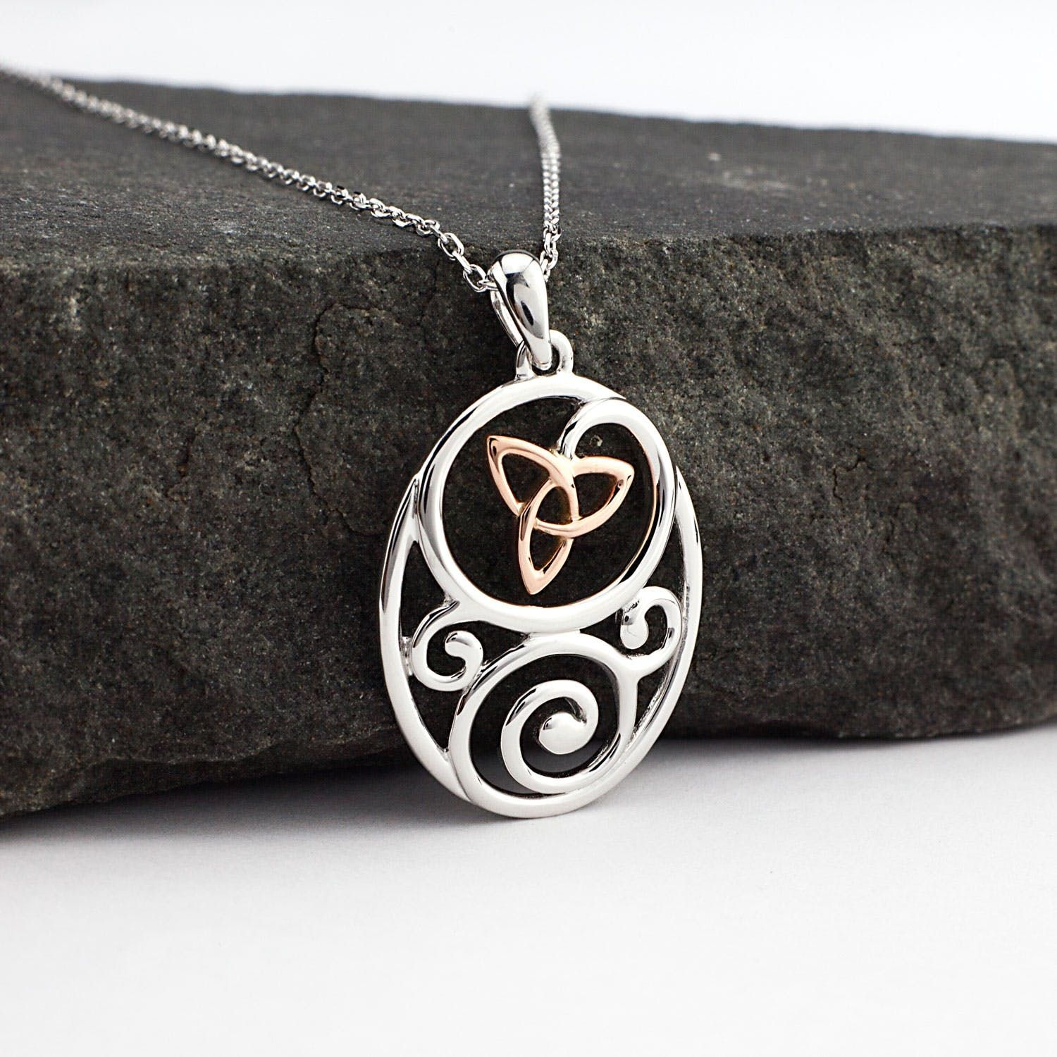 Sterling Silver And Irish Rose Gold Oval Trinity Knot