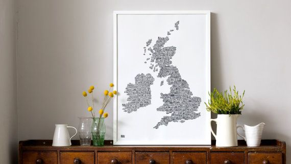 A hand pulled screen print lovingly made in England. Davids hand drawn labour of love...    An illustrated map of the UK and Ireland made up of hand