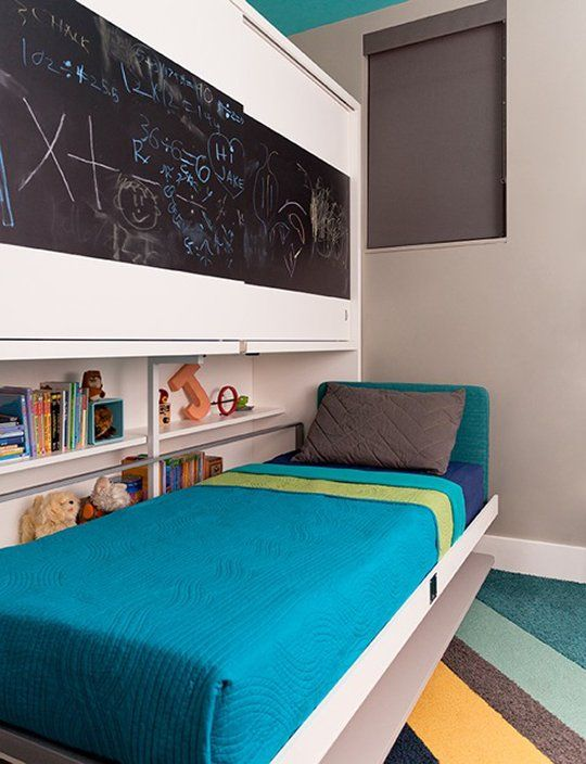 Before after office to out of this world kid 39 s room - Lits jumeaux escamotables ...