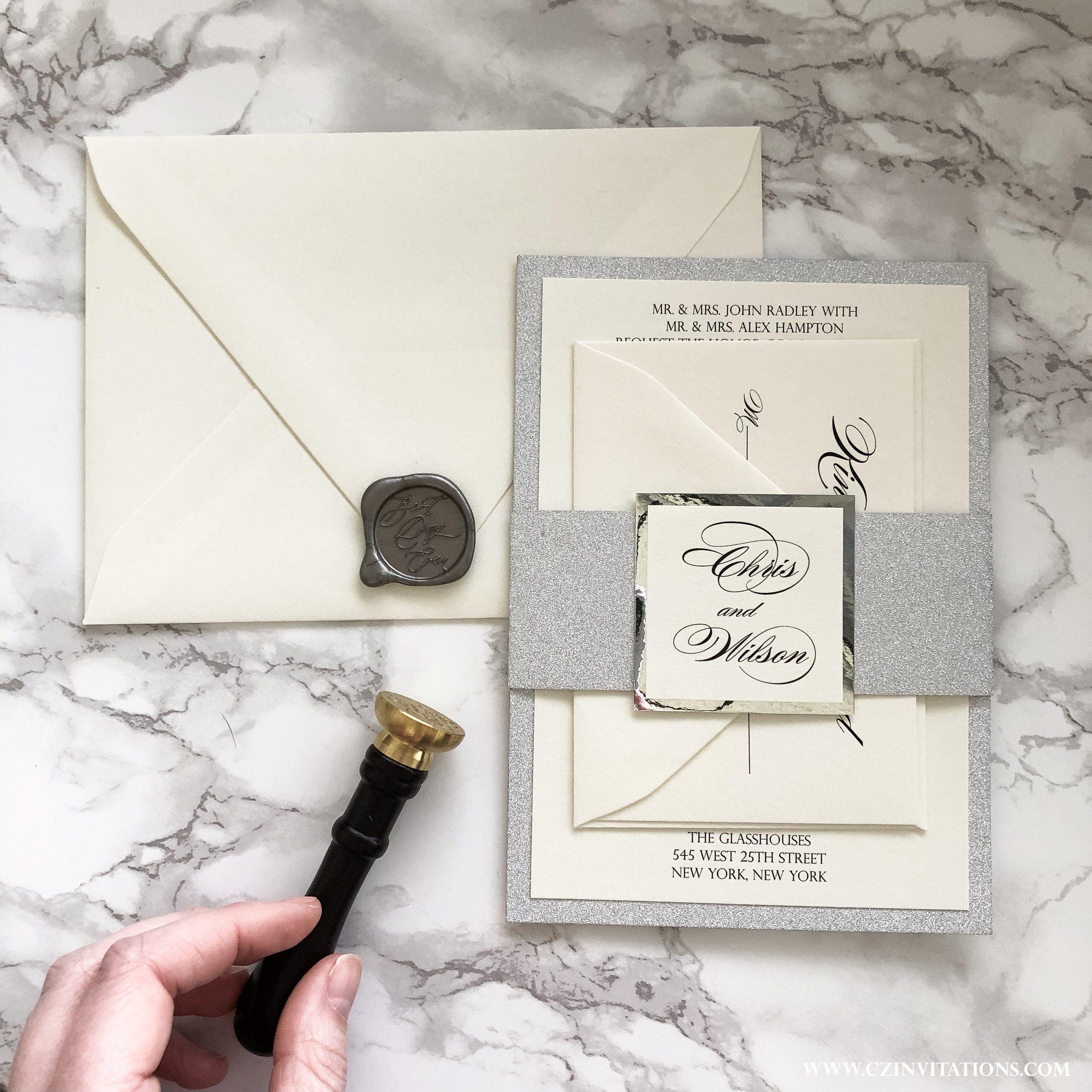Silver Glitter Wedding Invitation With Wax Seal Silver Etsy Silver Glitter Invitations Glitter Wedding Invitations Silver Glitter Wedding
