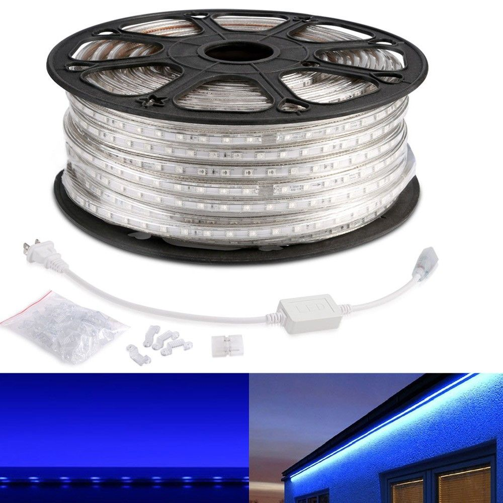Le 110 120 V Ac Flexible Led Strip Light Kit Blue Waterproof Ip65 Outdoor Christmas Lights Led Tape Led Light Strips 164ft 50m Led Strip Lighting Led Rope Lights Flexible Led Strip Lights