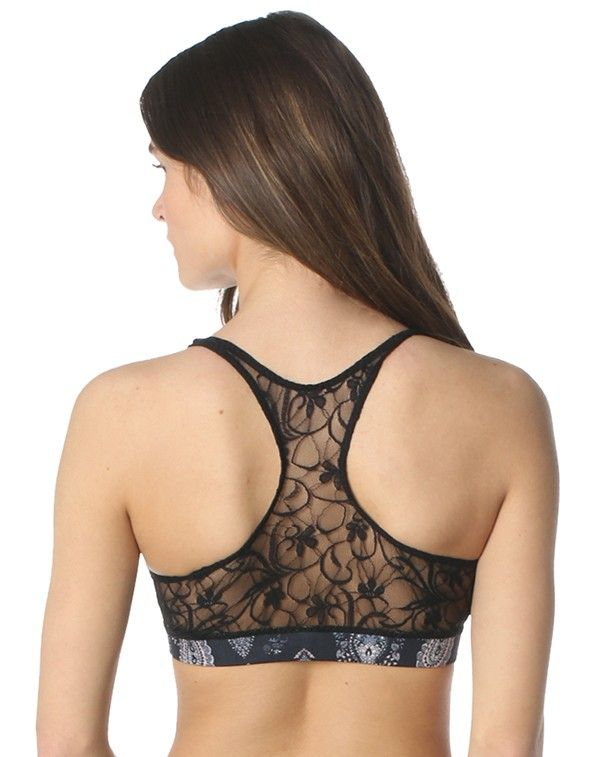 3f148e4cb eco friendly bras   intimates    MAJAMAS    comfy supportive black lace  racerback bra made from recycled performance fabric with stretch elastic
