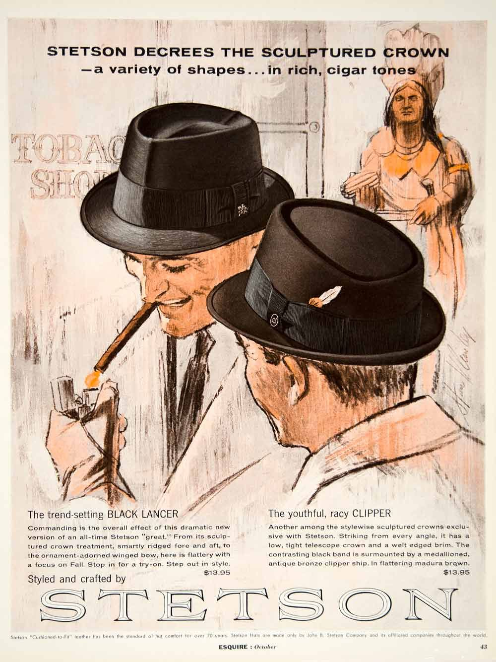 Mad Men Accessories 1962 ad vintage stetson hats mad men 60s fashion cigar tobacco