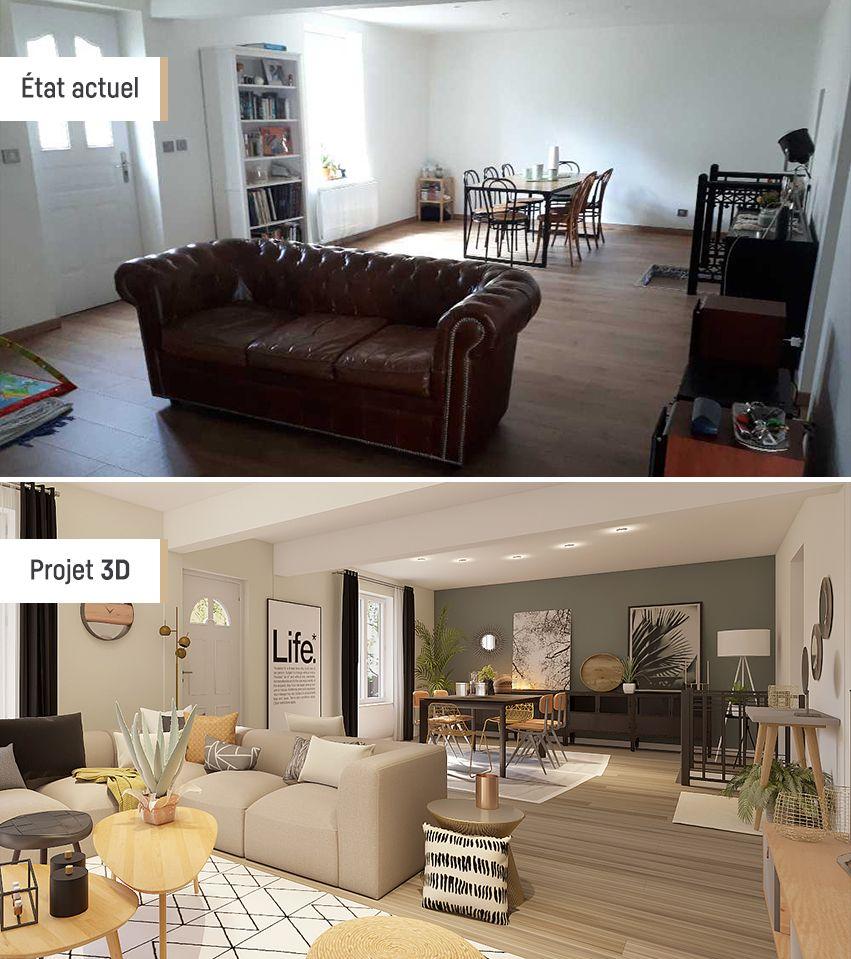 Avant/Après - Style industriel  Idée aménagement salon, Maison à