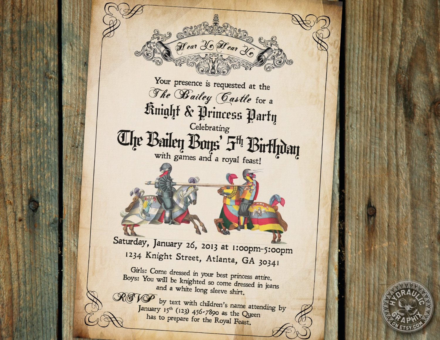 bday party invitation mail%0A Medieval Times or Renaissance Birthday Party Invitation with knights at  battle