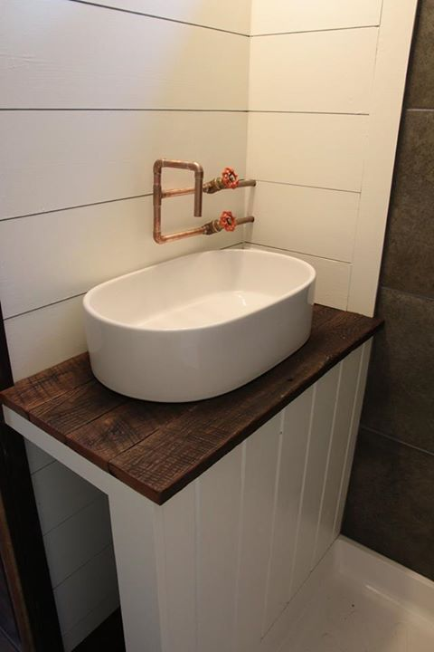 Exposed Copper Pipe To Bathroom Basin With Industrial Taps