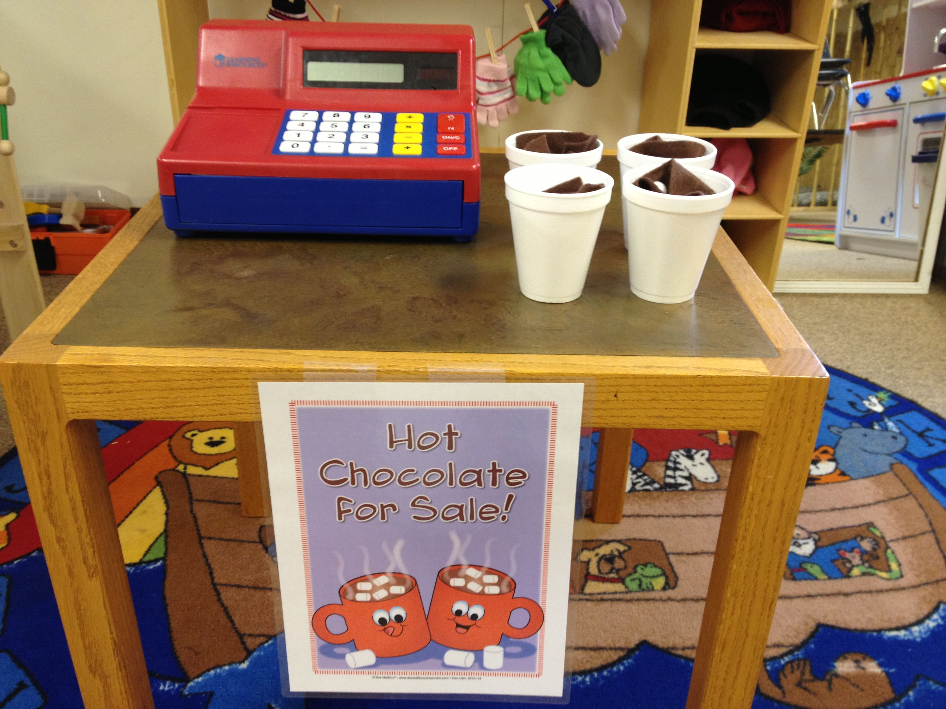 Preschool Winter Hot Cocoa Stand And Mitten Dramatic Play
