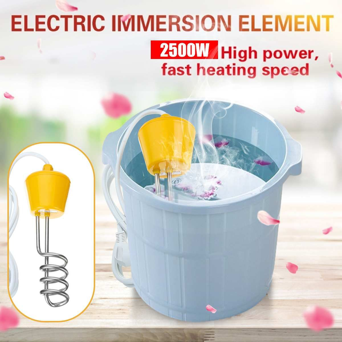 2500w Immersion Water Heater Mini Electric Heater Heating Element