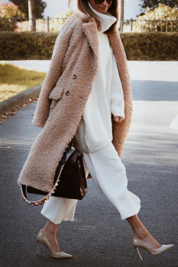 Fashion Lapel Collar Plain Winter Floss Long Coat