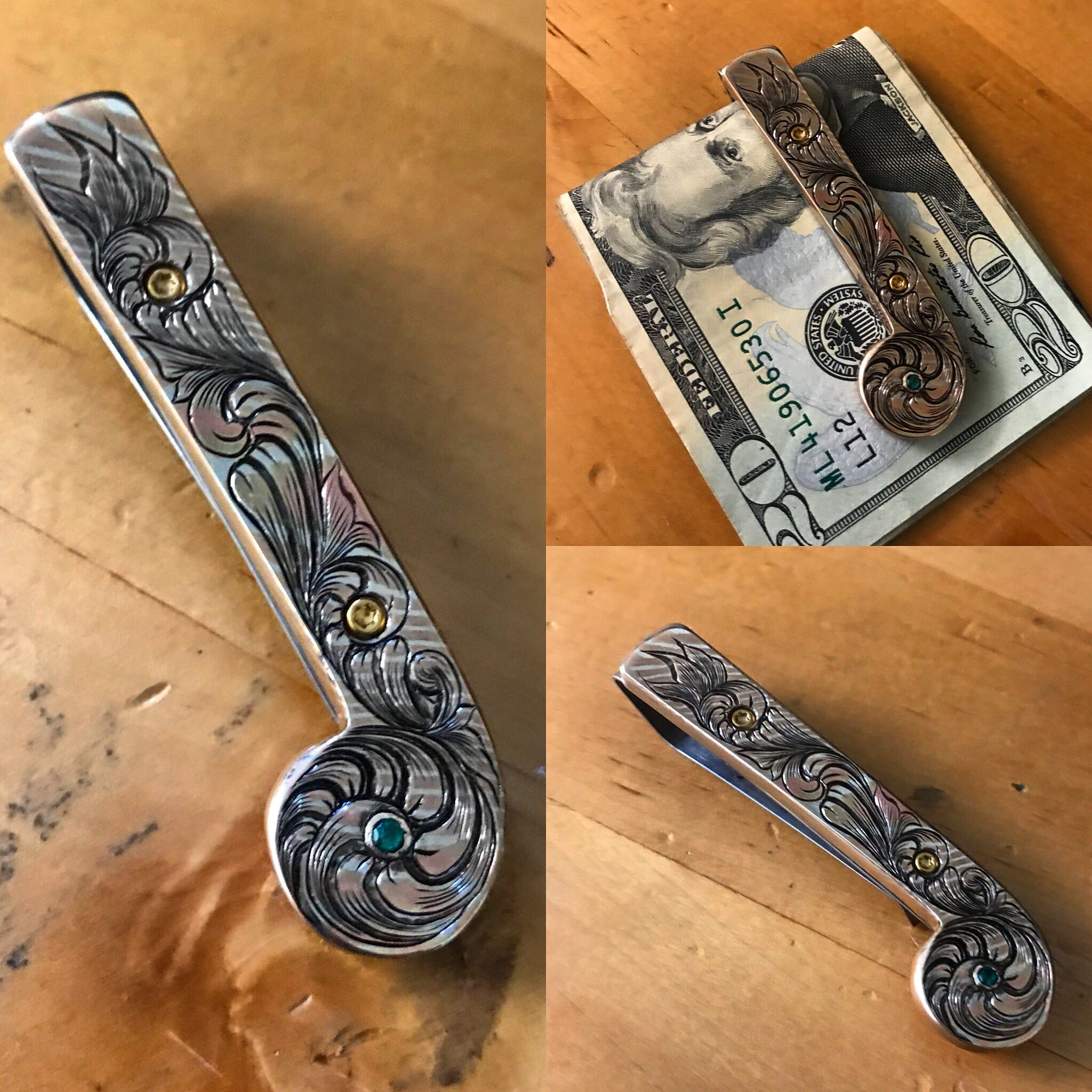Custom handmade money clip made from mokume with kt gold plated