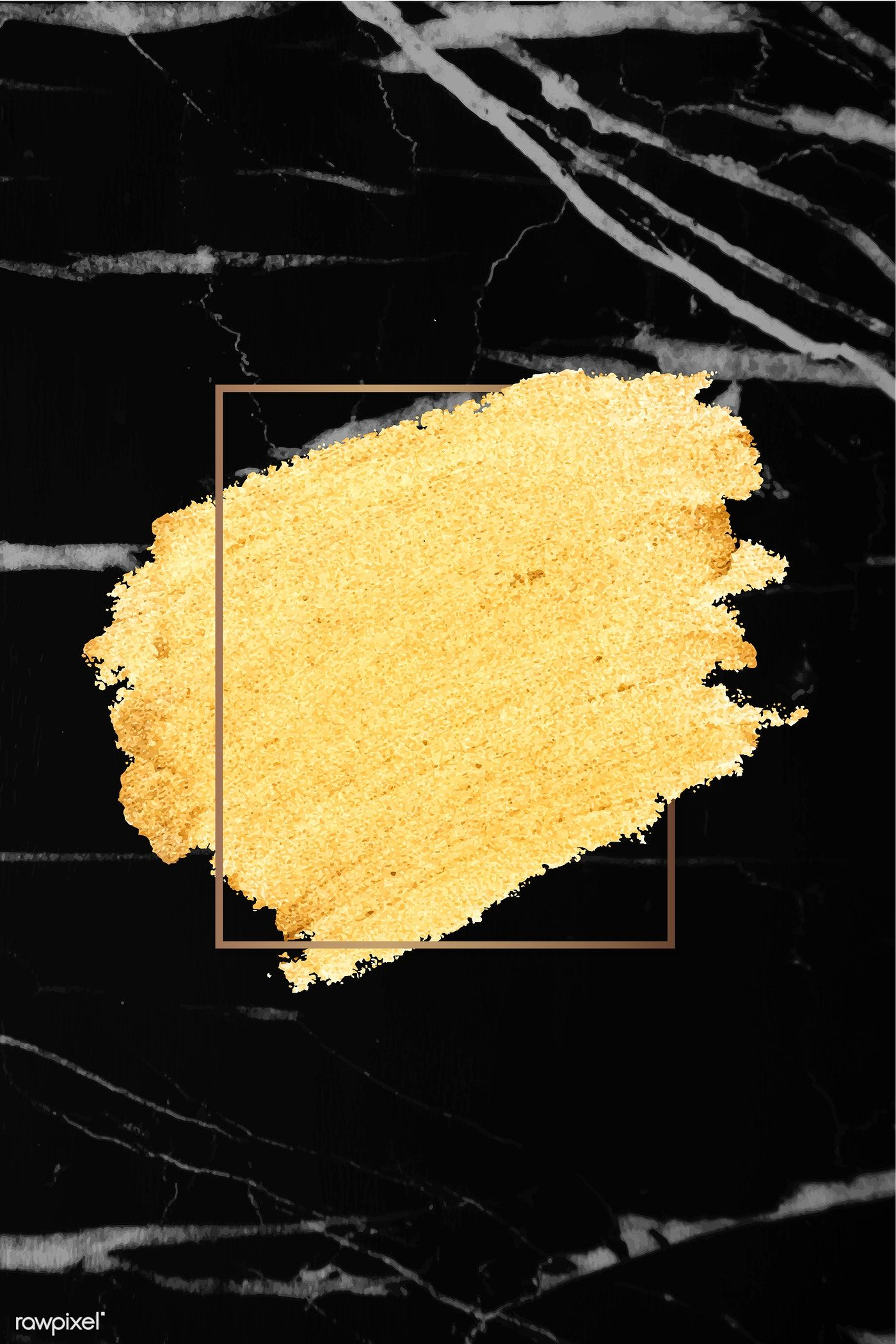Download Premium Vector Of Gold Paint With A Golden Rectangle Frame On A Black Marble Background Black And Gold Marble Gold Paint