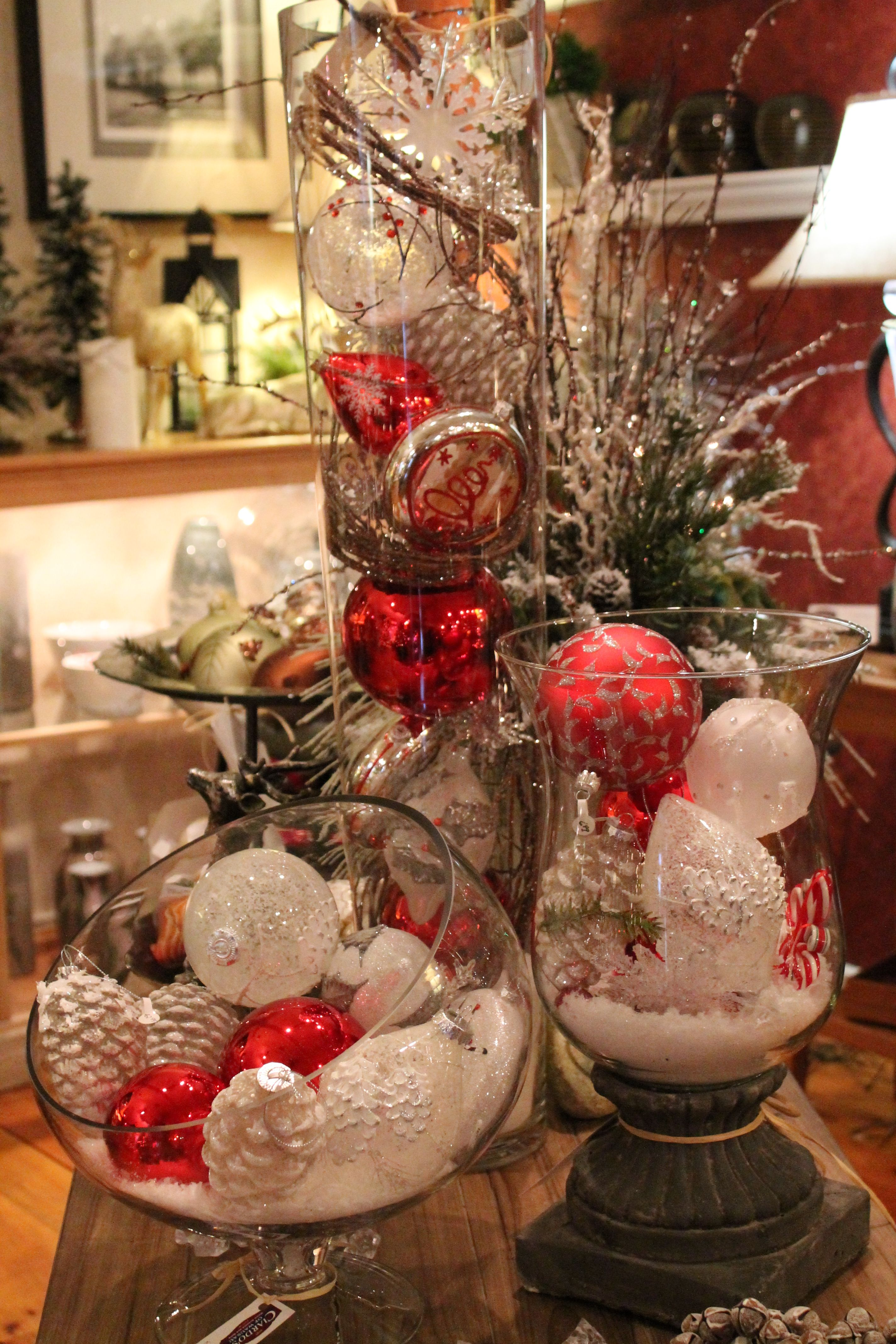 Decorate Glass Cylinders And Bowls With Ornaments From Exclusivelychristmas Glass Christmas Decorations Easy Christmas Decorations Christmas Table Decorations