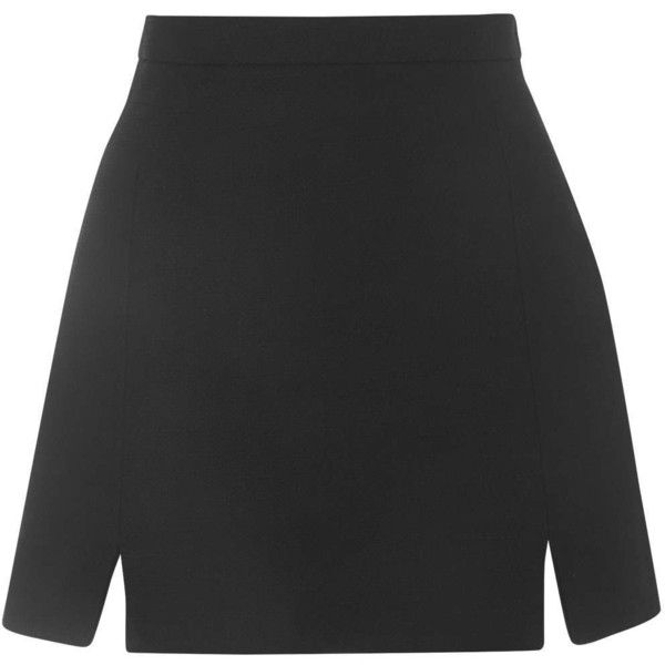 TOPSHOP A-Line Notch Hem Skirt (€44) ❤ liked on Polyvore featuring skirts, bottoms, saias, topshop, black, black skirt, cotton a line skirt, black cotton skirt and a line skirt