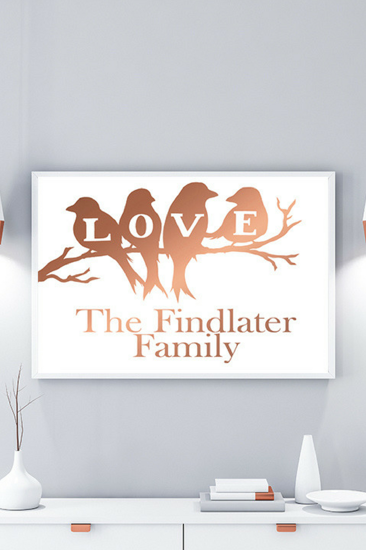 Rose Gold Wall Decor Personalised Family Print Personalised New Home Print Rose Gold