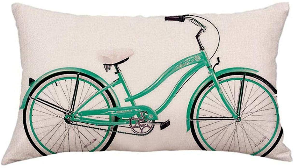 Fossrn Funda Cojin 30 x 50 Moderno Geometr/ía Bicicleta Funda de almohada para Sofa Jardin Cama Decoracion