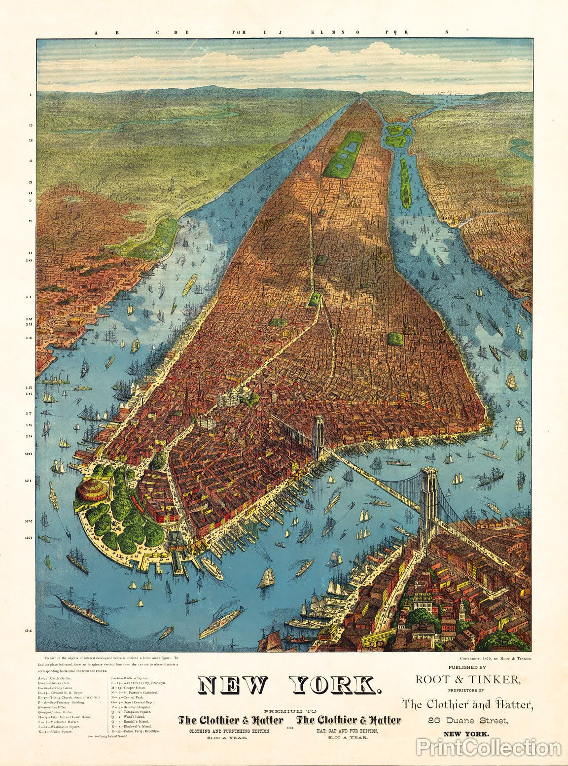 Rogers Peet  Co Aerial Map Of Manhattan In - New york map geography