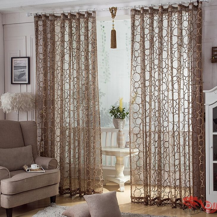 Superbe Coffee Colored Custom Made Living Room Sheer Curtains Otb1125272