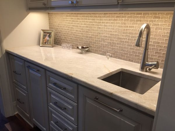 Taj Mahal QUARTZITE Wet Bar With Undermount Sink By Luxury Countertops