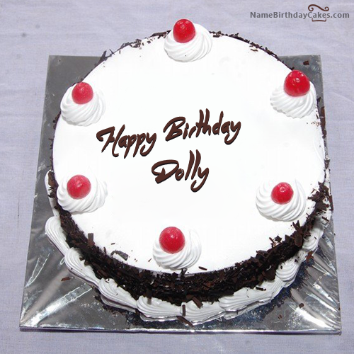 Excellent Black Forest Birthday Cake With Name Dolly With Images Happy Personalised Birthday Cards Cominlily Jamesorg