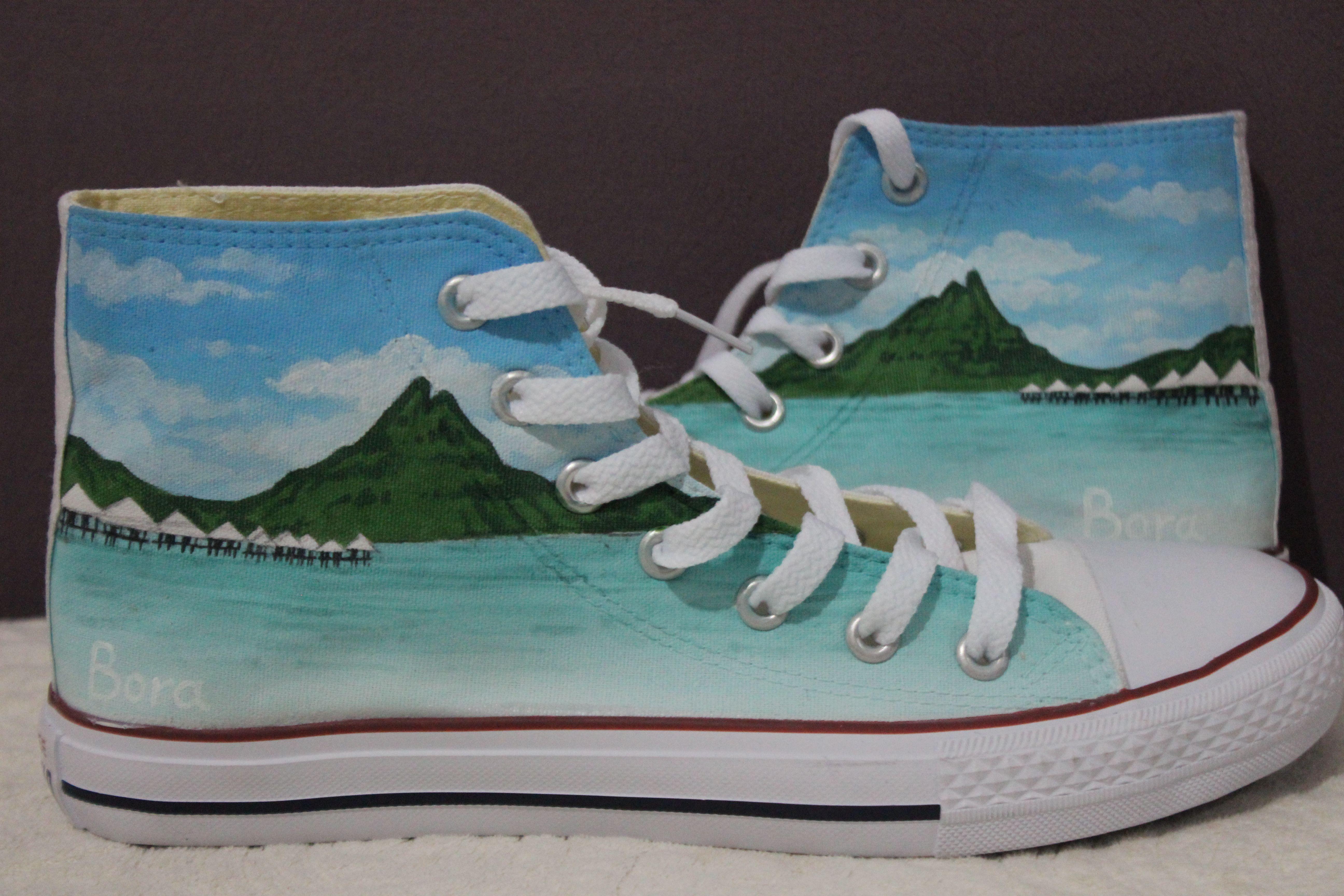 custom High-top Painted Canvas Shoes nature theme Custom Converse Shoes aa039381ba8f