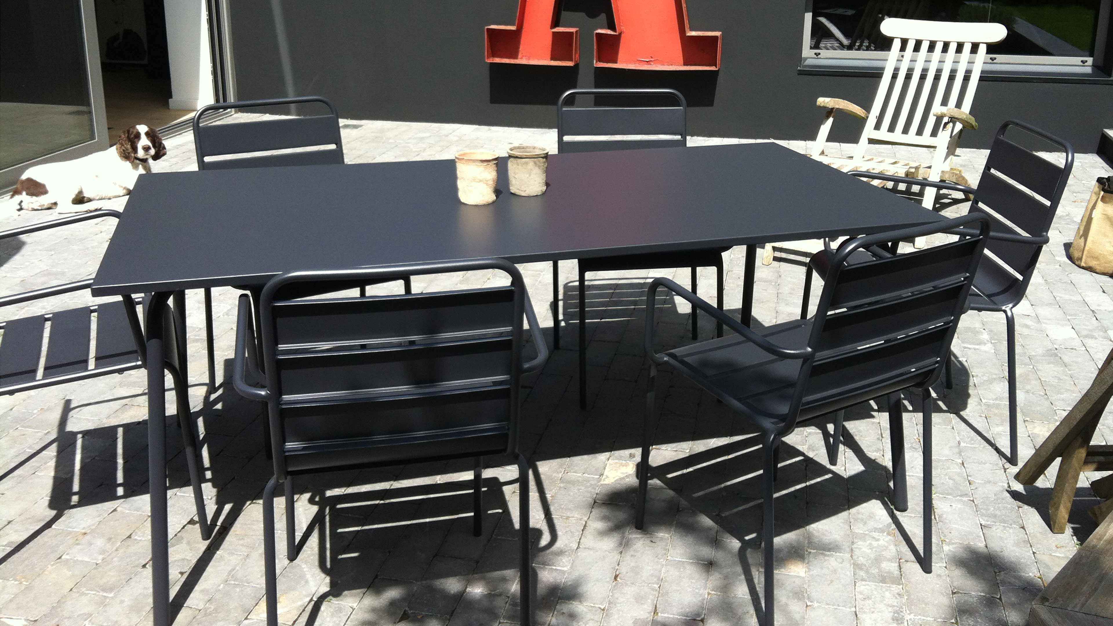 Table De Jardin En Metal Et 8 Fauteuils Table De Jardin Salon De Jardin Encastrable Chaise Jardin Metal