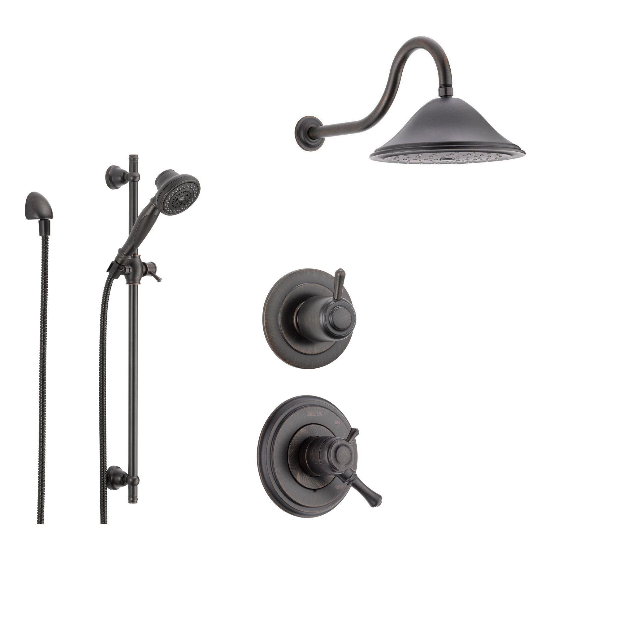 Delta Cassidy Venetian Bronze Shower System with Dual Control ...