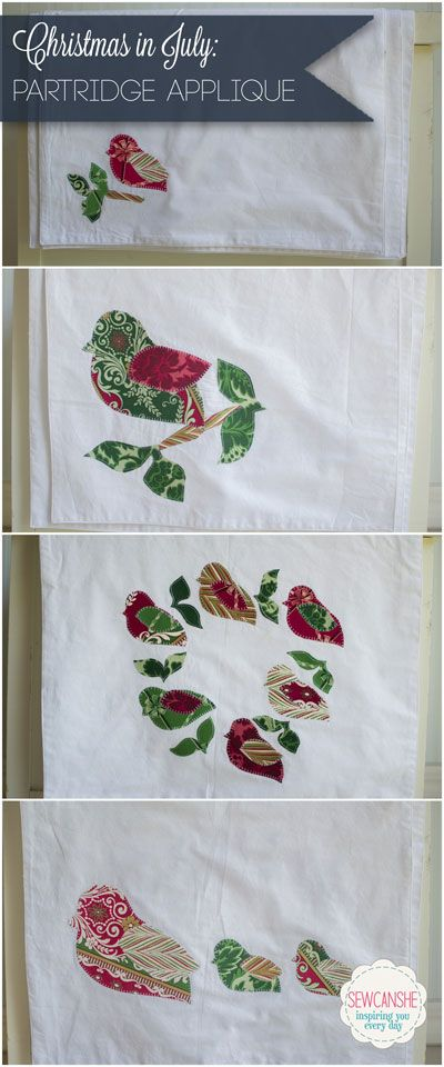 Applique of the Month Club: Christmas in July Partridges!   caminos ...
