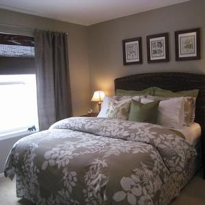 Gray Curtains On Brown Walls In 2019 Bedroom Green